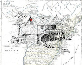 Grandpa's Water Wheel , Old Water Wheel and Mill , 1791 Map of the UsA , Print Pen and Ink Original Art Sketch