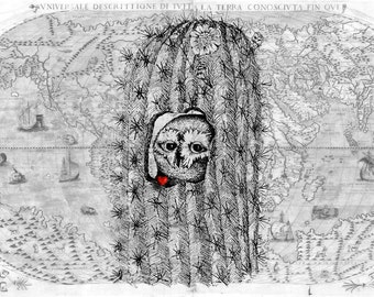 Hidden Refuge , Owl inside Cactus , 1565 Map of World , Print Pen and Ink Original Art Sketch