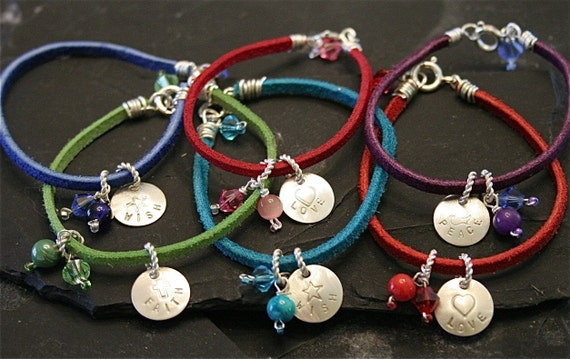 Sterling Silver and Suede Hand-Stamped Tag Bracelet