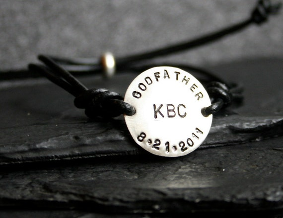 Godfather Sterling Silver and Leather Adjustable Bracelet