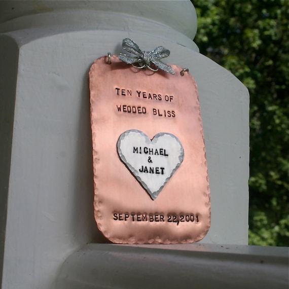 Wedded Bliss Hand-Stamped Copper/Aluminum Keepsake Ornament