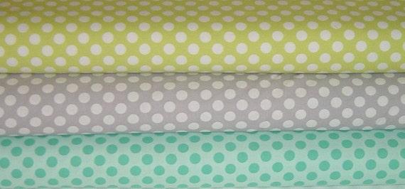 Ta Dot Fat Quarter set - Lime, Stone & Sea - Michael Miller Fabric