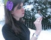 sugar plum - upcycled fabric hair clip