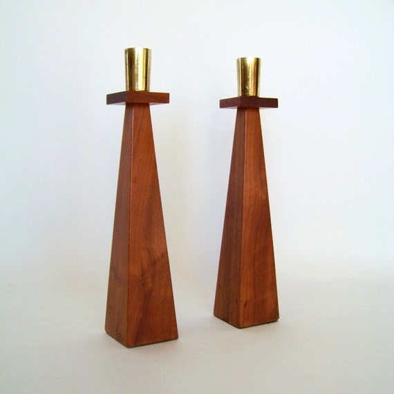 SOLID Wood Mid Century Candle Holders