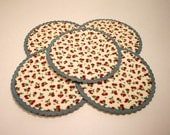 Vintage Paper Cherry Coasters set of 5