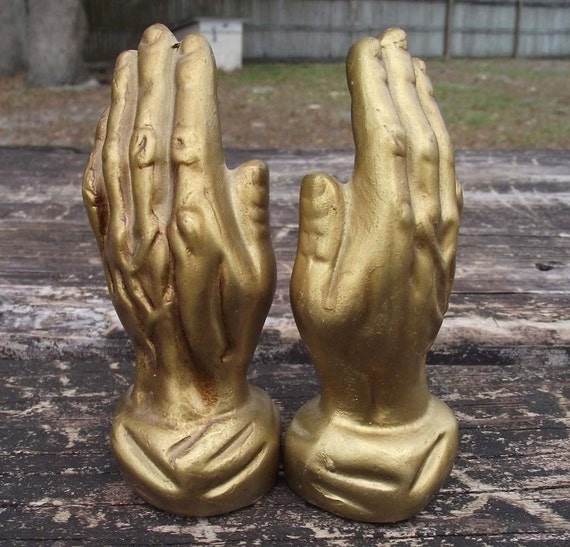 Golden Praying Hands Salt and Pepper Shakers