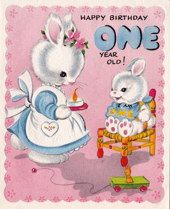 Vintage 1950s Happy Birthday 1 Year Old Greeting Card 01