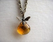 Bumble Bee Briolette Necklace Pendant