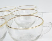 Vintage PARTY Wedding Gold Rim Punch Glasses 1940s Plated SHABBY Chic Indie Formal Fancy