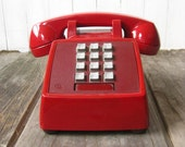 Vintage BURGUNDY Deep Red MAD MEN Telephone 1980s 80s At&t Touch Tone Red Telephone