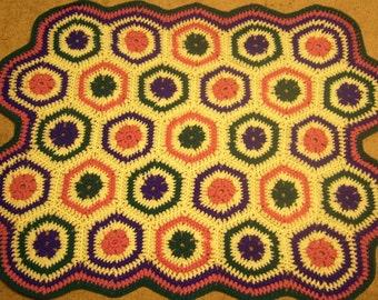 retro style granny hexagon throw blanket - ready to ship