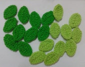 Crochet  Green Leaf  Applique   X 20pcs.