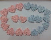 Crochet Heart Applique Light Blue and Pink x 20pcs