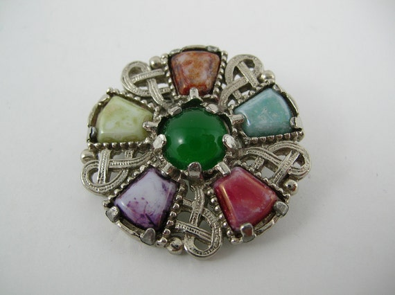 Vintage Scottish Brooch Pin Glass Cabochon Blue Green Purple Coral Red Silver Mod Retro Valentine Gift  Miracle style Kilt Pin Tartan