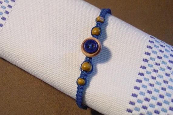 Wood and Blue Button Macrame Bracelet