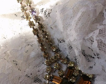 Yellow and Brown Rhinestone Necklace SALE
