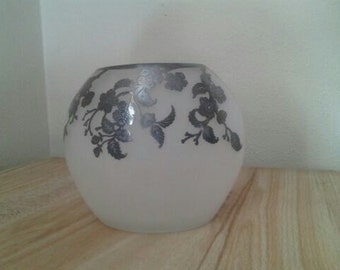 Vintage Rockwell  Frosted Glass Sterling SIlver Vase Sale