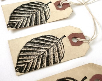 Leaf Tags - Fall Autumn Leaves Gift Tags - Tea Stained Tags - Distressed