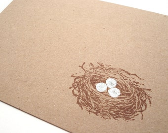 Bird's Nest Note Cards - Gift Cards - Thank You Cards - Hand Stamped Brown Kraft Card Stock