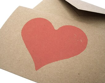 Valentines Card - Heart Blank Note Cards - Love - Anniversary - Hand Stamped Kraft Recycled