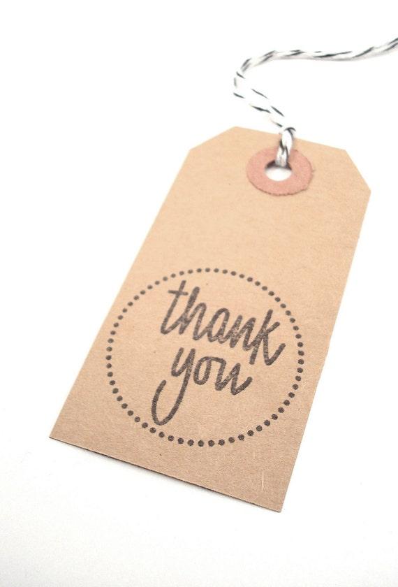 Kraft Thank You Tags Modern Rustic Gift favor