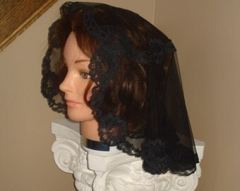 BLACK  lace - Princess Style Headcovering - Church or Chapel veil mantilla scarf NEW