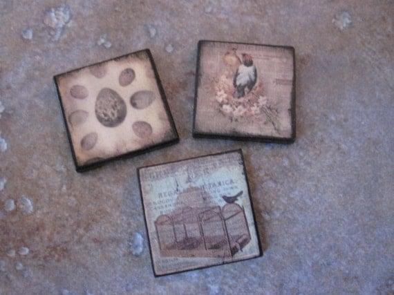 Wood charms Ephemera Tile THREE PACK Custom Drilled