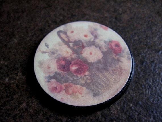 Flower Basket Pendant  custom drilled 1.5 inch Pendant Floral Vintage