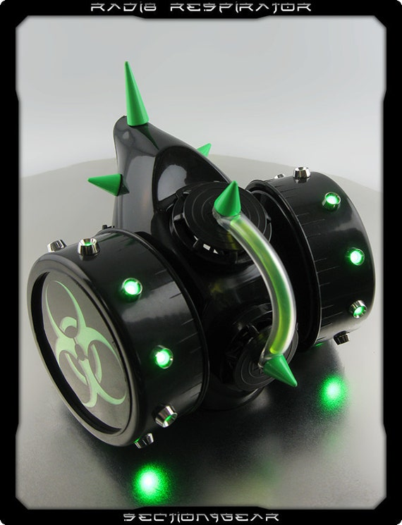 Radi8 Cyber Respirator with Green LED's and Spikes custom listing for sinistermango