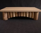Wood Cutting Board on Aspen Log Footed Base - Handcrafted Decorative Hard Maple Butcher Block for Log Cabin Decor