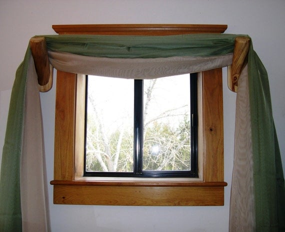 Swag curtain holders 1 pair handcrafted rustic log cabin for Log cabin window treatments