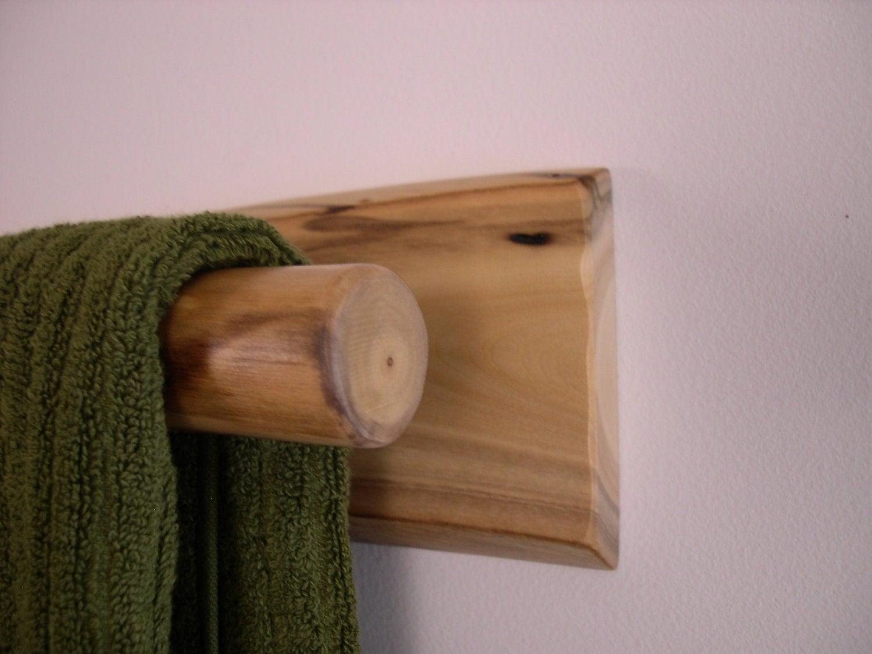 hand towel rack rustic log decor for bathroom or kitchen. Black Bedroom Furniture Sets. Home Design Ideas