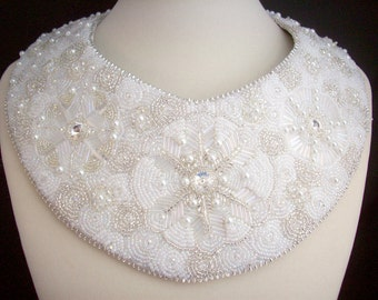 White and Silver Snowflakes Bib Necklace Bead Embroidered Collar