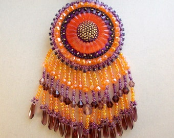 Purple and Orange Necklace Sunflower Beadwoven Czech Glass Button Pendant