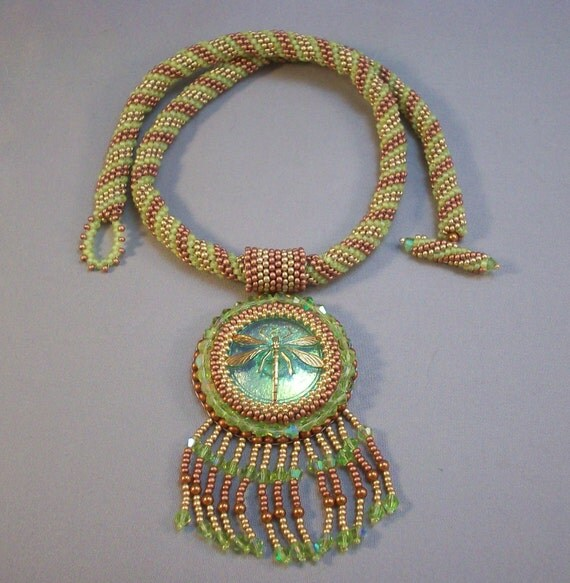 Gold Dragonfly on Bright Green Czech Button Beadwoven Necklace