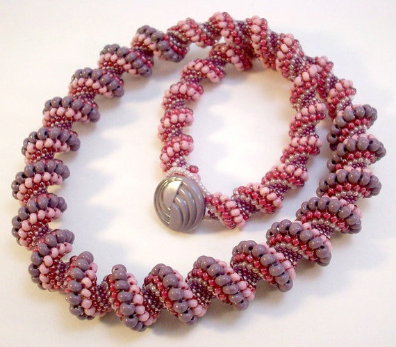 Purple and Red Necklace Beadwoven Cellini Spiral Berry Parfait