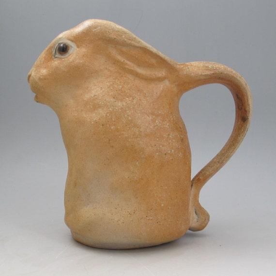 sculpted pitcher rabbit wood fired sculptural