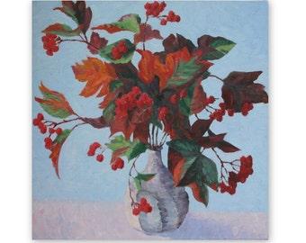 Viburnum autumn colour, oil painting, still life, leaves, red berries, original painting, 16x16