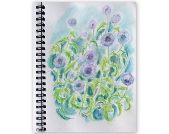 Echinops flowers, sketchbook page, flowers, watercolour, original painting, 7x10 inches