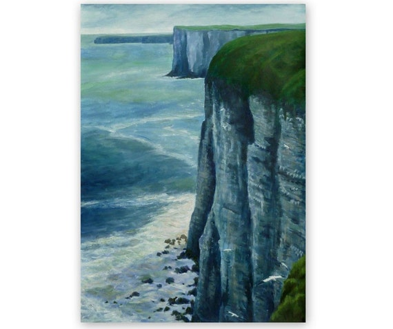 Original painting, 'Bempton Cliffs', acrylic, landscape, sea, rocks, 16x23 inches