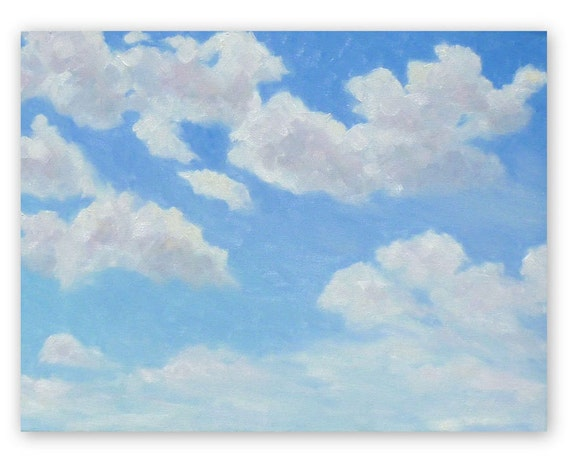 Original painting, 'Sky and clouds', oil painting, deep canvas, blue sky, 12x16