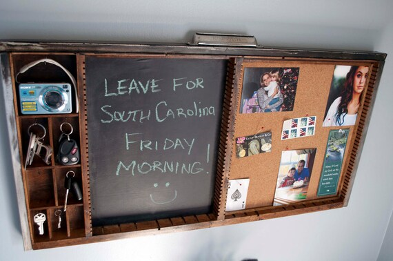 SALE - Antique Printers Drawer Message Bulletin Chalk Board