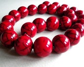 Red Crackled Resin Ball Necklace