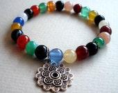 Multi Colored Agate with Mandala Charm Bracelet