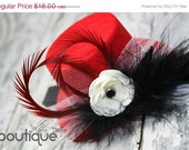 ON SALE 25% OFF Mini Top Hat Mad Hatter Style Headband Red Hearts