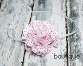 SALE RTS White with pink polka dots Audrey Satin Mesh Flower Headband
