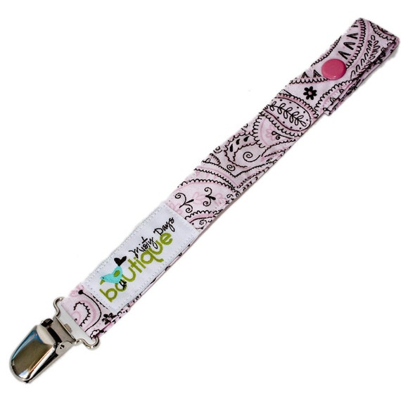 Pacifier Holder Clip Leash Handmade Pink and Black Paisley
