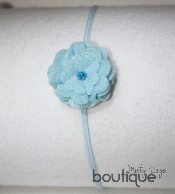 Felt Flower Skinny Elastic Headband Handmade