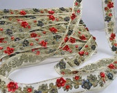 Vintage Bead and Sequin Trim - Gold, Red, Blue - 9-1/2 yards