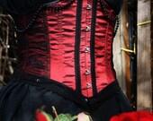 Victoriana Red Steel Boned Taffeta Underbust Corset, Custom Made to Your Measurements, Gothic, Victorian, Burlesque, Vampiric